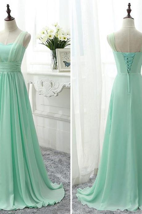 Sweetheart Bridesmaid Dress with Belt, Modern Chiffon Bridesmaid Gowns, Mint Green Bridesmaid Dress with Soft Pleats, #01012826