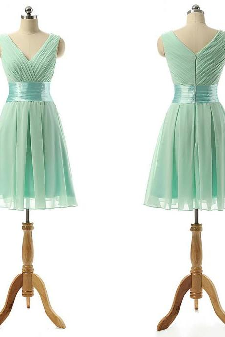 Vintage Bridesmaid Dress with a Ribbon, Light Green V-neck Bridesmaid Dresses with Soft Pleats, Knee-length Chiffon Bridesmaid Dresses, #01012860