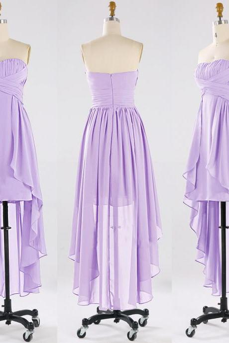 High Low Bridesmaid Dresses with Soft Pleats, Sexy Asymmetrical Bridesmaid Gowns, Strapless Chiffon Ruffles Bridesmaid Dresses, #01012863