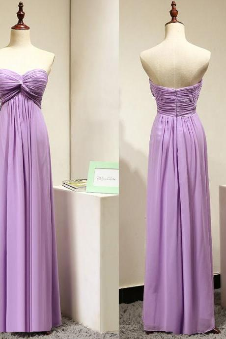 Empire Sweetheart Bridesmaid Dresses with Ruching Details, Lavender Chiffon Bridesmaid Dresses, Modest Gowns for Bridesmaids, #01012872