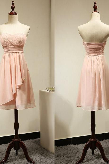 Light Pink Bridesmaid Dress with Ruching Detail, Fashionable Sweetheart Bridesmaid Gowns, Short Chiffon Bridesmaid Dress, #01012884