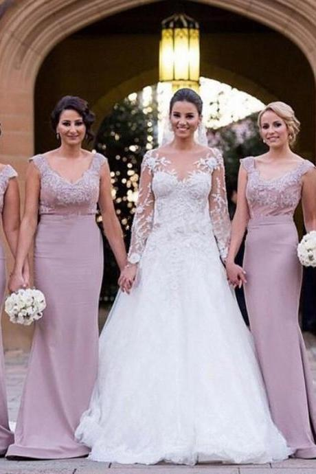 Off the shoulder Bridesmaid Dress with Sweep Train, Cap Sleeve Bridesmaid Dress with Lace Appliques, Column Bridesmaid Gowns, #01012789