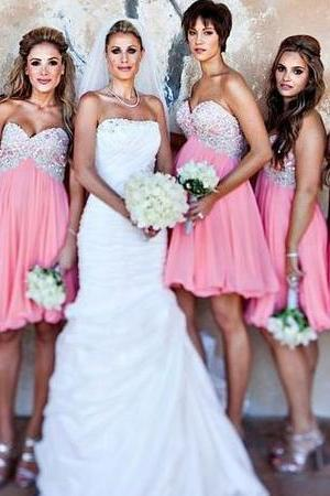 Perfect Sweetheart Bridesmaid Dresses, Hot Pink Empire Bridesmaid Dress, Sweet Chiffon Short Bridesmaid Dress with Beaded Bodice, #01012801