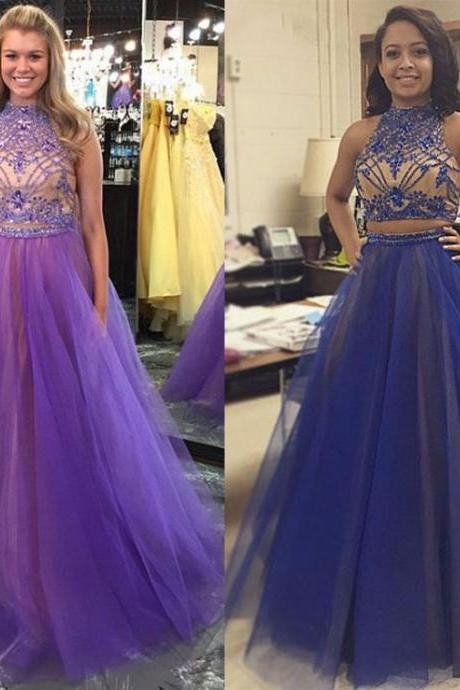 Pretty High Neck Prom Dresses, Two Piece Princess Prom Dress, Sparkle Beaded Crop Top Prom Dresses, #020102068