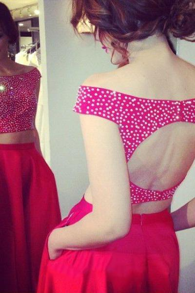 Open Back Prom Dresses with Crystal Beads, Two Piece Prom Dress, Off-the-shoulder Prom Dresses, #020102070