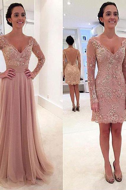 Detachable Lace Prom Dress with V-back, Long Sleeve V-neck Prom Dress, New Arrival Tulle Prom Dress, #020102076