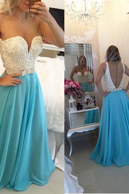 Pearl Beaded Prom Dress, Trendy Prom Dress with Transparent Back, A-line Chiffon Prom Dress, #020102163