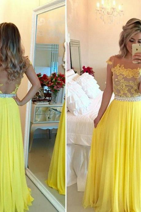 Cap Sleeve Yellow Prom Dress with Lace Appliques, Backless Chiffon A-line Prom Dress, Online Prom Dresses with Pearl Beaded Belt, #020102168
