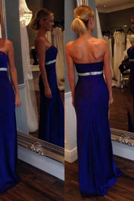 Sweetheart Satin Prom Dresses, Column Prom Dress with Side Slit, Royal Blue Prom Dress with Beaded Belt, #02018751