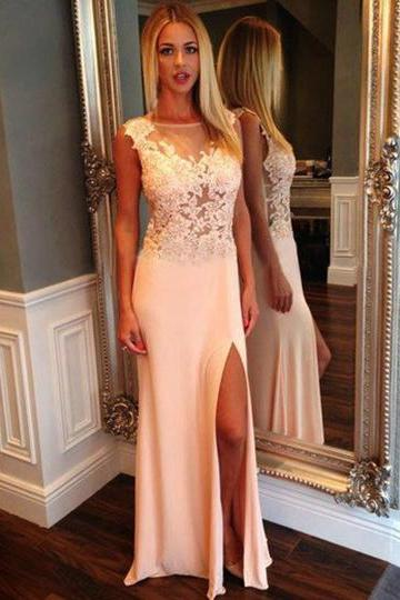 Floral Lace Illusion Prom Dresses with Side Slit, White Prom Dresses with Tank See-through Bodice, Beautiful Long Prom Dresses, #02018939