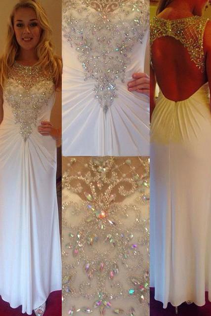 Glitter Beaded White Prom Dresses with Keyhole Back, Chiffon Prom Dresses with Illusion Beaded Bodice and Ruching Detail, #02019890