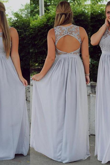 Illusion Prom Dress with Keyhole Back, Sleeveless Scoop Neck Prom Dress, Lace Prom Dress with Soft Pleats, #02019946