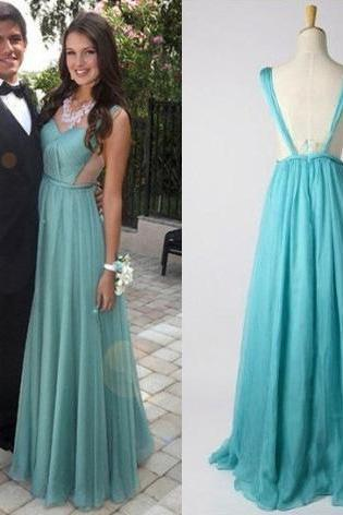 A-line Sweetheart Prom Dresses with Ruching Detail, Floor-length Chiffon Prom Dresses, Open Back Prom Dresses with Straps, #02018657
