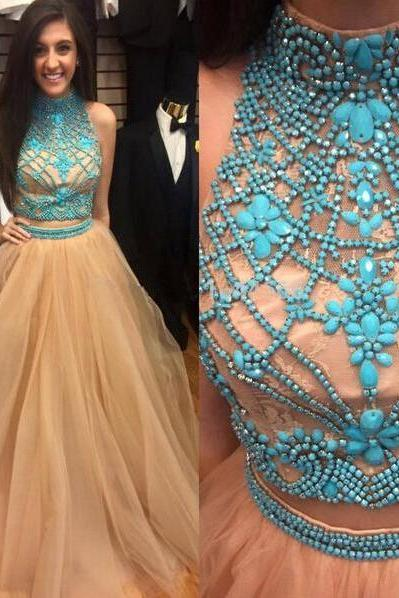 Illusion Neck Prom Dresses with Blue Gemstones, High Neck Crop Top Prom Dresses, Two Piece Prom Dresses with Tulle Shirt, #02018891