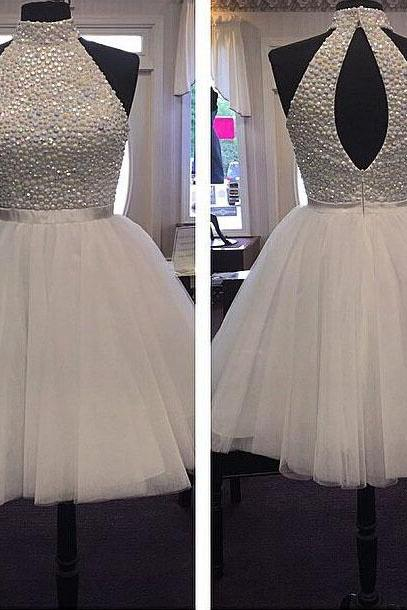 High Neck Homecoming Dress with Sashes, Pearl and Bead Ball Gown Homecoming Dress, Short Key Hole Homecoming Dress, #020102515