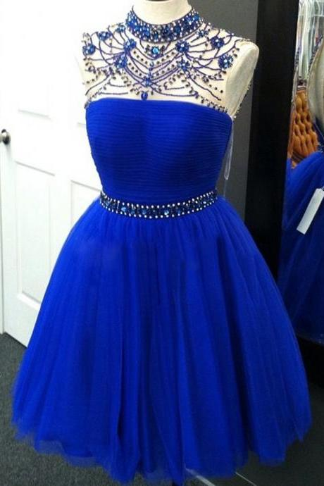 High Neck Homecoming Dress with Beaded Belt, Sweet Royal Blue Tulle Homecoming Dress, Bead and Crystal Homecoming Dress, #020102524