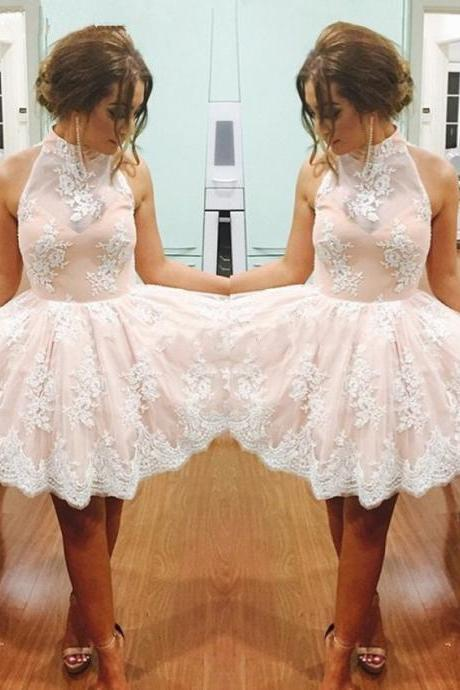 Sweet Pink Homecoming Dress with White Lace, High Neck Mini Homecoming Dress, Key Hole Homecoming Dress with Appliques, #020102525