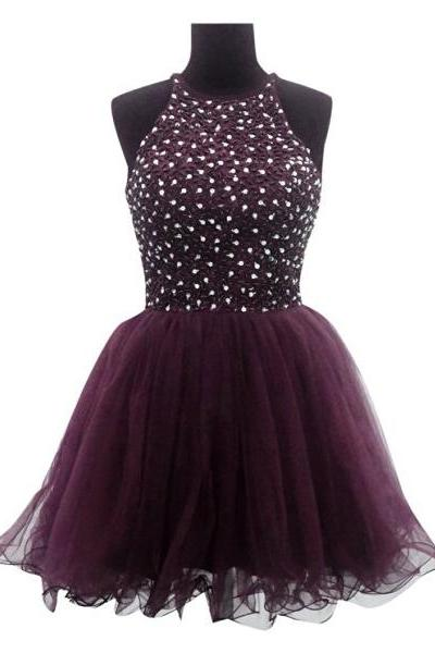 Organza Homecoming Dress with Beads and Sequins, High Neck Short Homecoming Dress, Elegant Raisin Homecoming Dress, #020102530