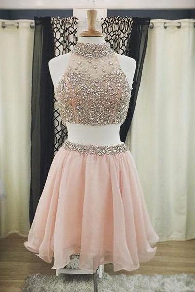 Princess Two Piece Pink Homecoming Dress, High Neck Mini Chiffon Homecoming Dress, Bead and Crystal Homecoming Dress with Pleats, #020102532
