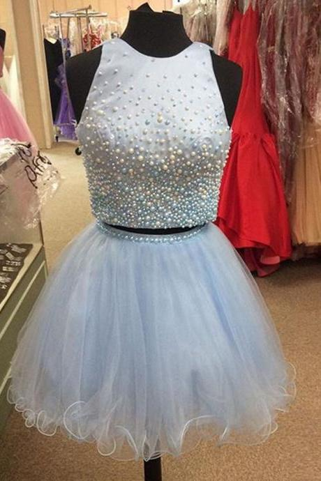 Ice Blue Tulle Homecoming Dress with Pearls, Jewel Neck Satin Homecoming Dress with Key Hole Back, Sleeveless Pink Mini Homecoming Dress, #020102539