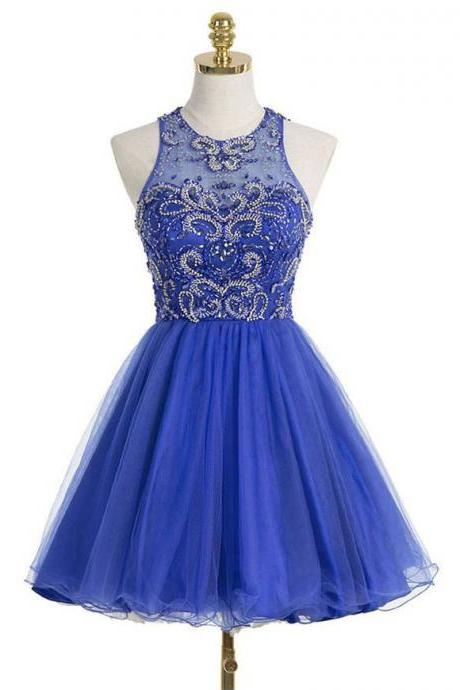 Princess Illusion Neck Tulle Homecoming Dress with Keyhole Back, Royal Blue Homecoming Dresses with Gorgeous Beads, Short Homecoming Dress, #020102544