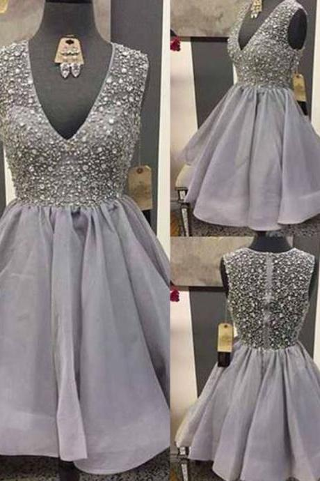 V-neck Organza Homecoming Dresses, Cheap Short Homecoming Dresses with Sparkly Beads, Gray Homecoming Dress with All over beaded Bodice, #020102545
