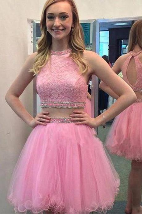 Pink Scoop Neck Homecoming Dresses, Pretty Two Piece Homecoming Dresses, Jewel Neckline Short Lace Homecoming Dress with Shining Beads, #020102550