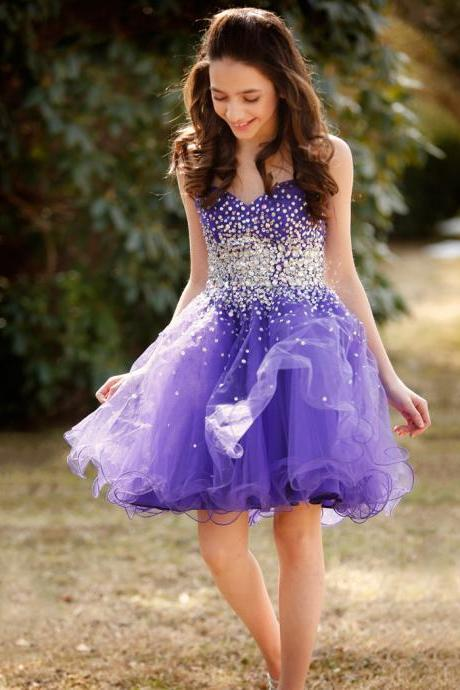Sweetheart Princess Homecoming Dresses, Blue Violet Organza Short Homecoming Dresses, Gorgeous Crystal Beaded Girls Homecoming Dresses, #020102555