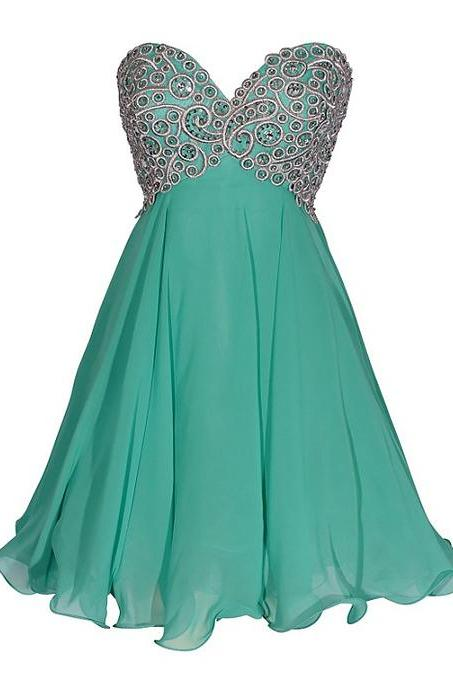 Inexpensive Hunter Homecoming Dresses, Empire Sweetheart Chiffon Short Homecoming Dress, Mini Homecoming Dresses with Gorgeous Sequins, #020102561