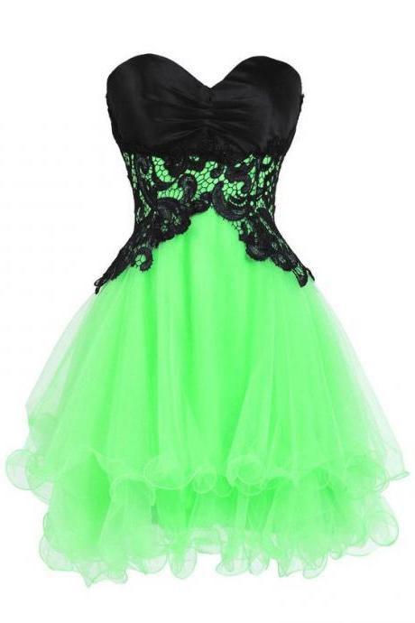 Princess Sweetheart Homecoming Dresses, Short Organza Homecoming Dresses, Mini Tiered Homecoming Dresses with Green Skirt and Black Bodice, #020102562
