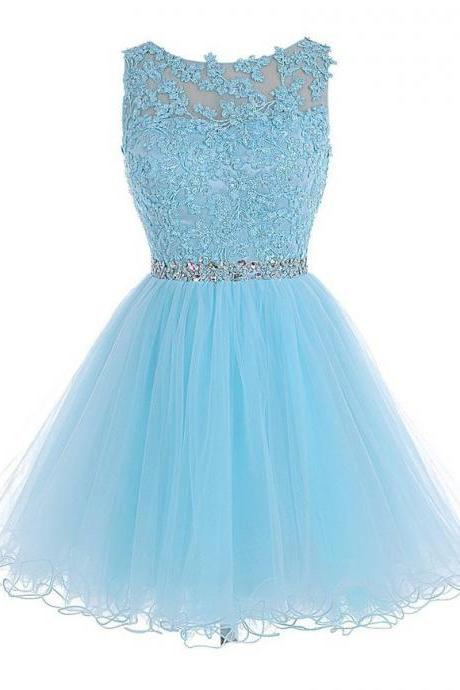 Sleeveless A-line Beaded Short Homecoming Dress with Lace Bodice in Aqua Blue