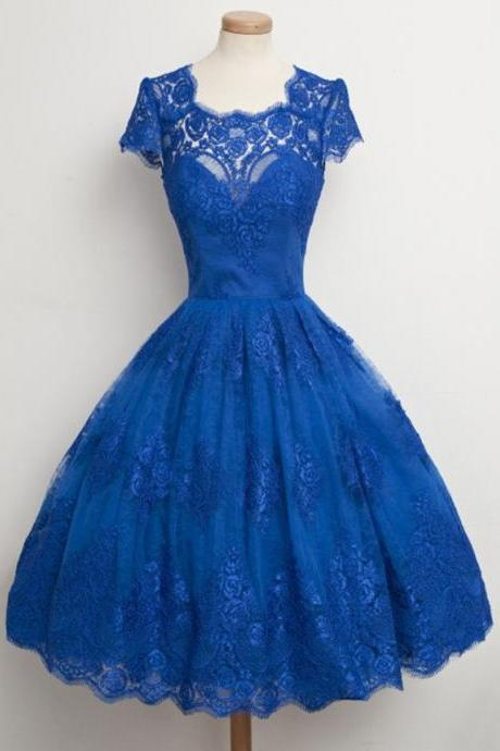 Princess Scalloped Neck Homecoming Dresses, Classic Blue Lace Knee-length Homecoming Dresses, New Arrival Lace Homecoming Dresses, #020102565