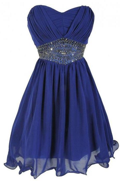 Royal Blue Empire Sweetheart Homecoming Dresses, Wholesale Chiffon Short Homecoming Dresses, Mini Homecoming Dress with Gorgeous Beads, #020102567