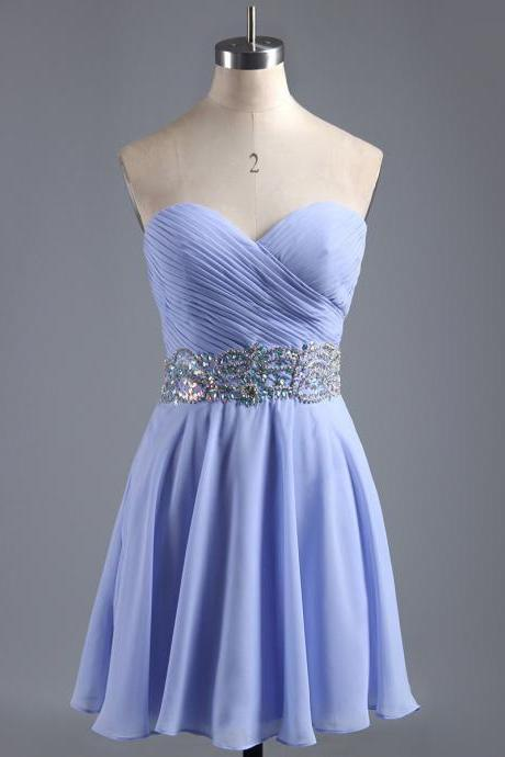 Sweetheart Homecoming Dresses with Ruching Detail, Mini Blue Violet Chiffon Homecoming Dress, Affordable Homecoming Dress with Beaded Belt, #020101407