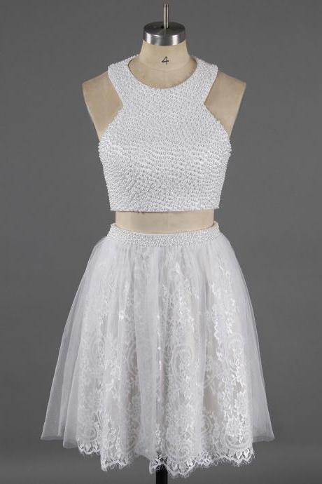 Halter Two Piece Pure White Homecoming Dress, Sweet Lace Pearl Homecoming Dress, Princess Short Homecoming Dress with Pearl Belt, #020100649