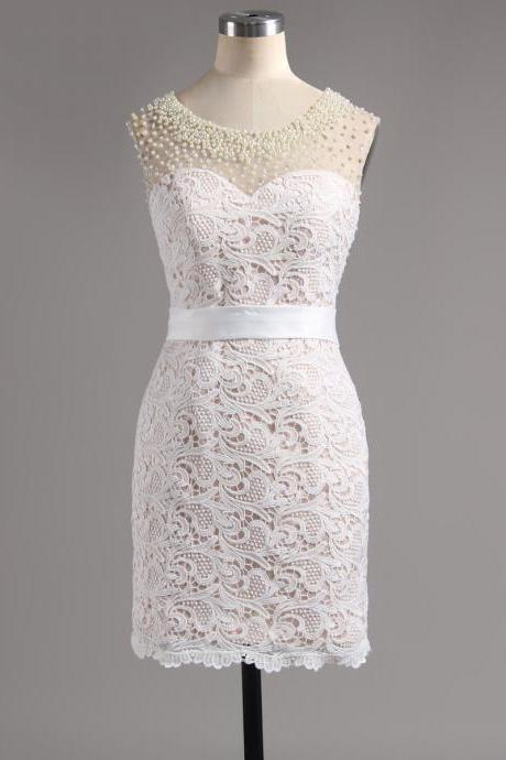 Custom Made White Pearl Embellished Illusion Neckline Lace Bodycon Sheath Short Cocktail Dress, Graduation Dress, Evening Dress, Homecoming Dress