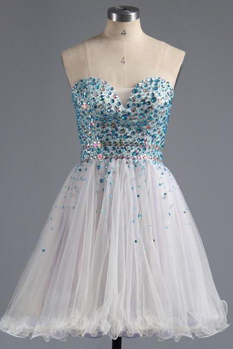 Sweetheart Tulle Homecoming Dress, Princess White Homecoming Dresses with Blue Beads, Sparkling Mini Homecoming Dresses with Crystal Belt, #020100672