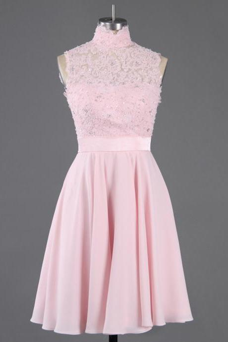 Custom Made Pink High Neck Lace Applique and Beaded Chiffon A-Line Short Cocktail Dress, Graduation Dress, Evening Dress, Homecoming Dress
