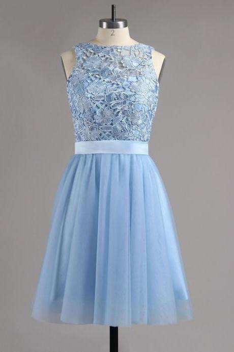 Jewel Ice Blue Homecoming Dress with Sash, Illusion Tulle Homecoming Dress with Lace Appliques, Princes Short Open Back Homecoming Dress, #020100826