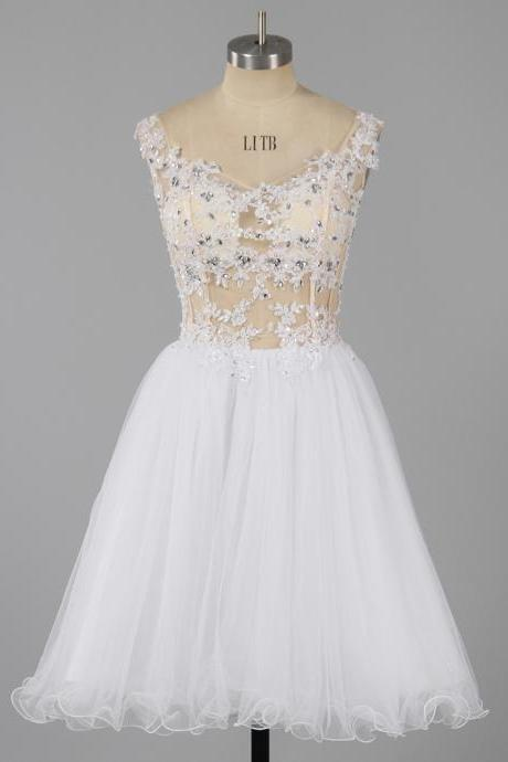 Sexy Off-the-shoulder Homecoming Dresses, See-through White Homecoming Dresses with Amazing Lace Appliques, A-line Tulle Homecoming Dress, #020101466