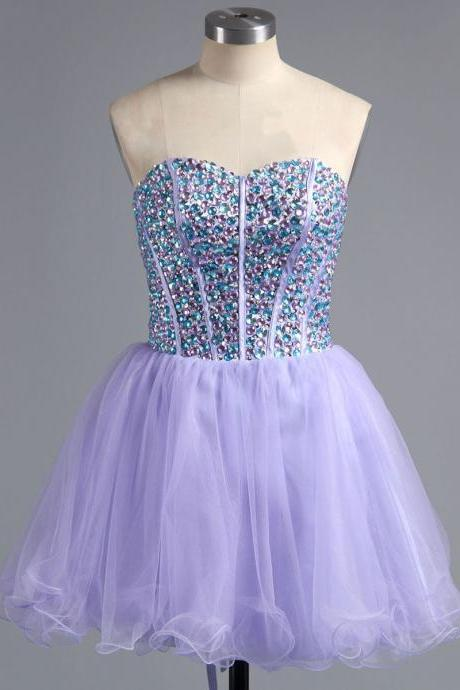 Custom Made Purple Sweetheart Neckline Crystal Embellished A-Line Short Cocktail Dress, Graduation Dress, Evening Dress, Homecoming Dress