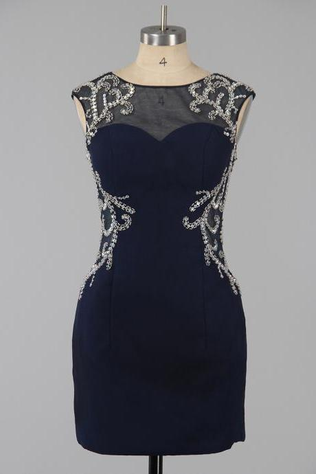 Dark Navy Column Illusion Neck Homecoming Dresses, Sexy Open Back Homecoming Dresses, Silk-like Satin Homecoming Dress with Sparkle Beads, #020101761