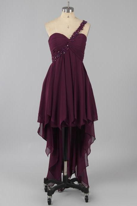 Asymmetric High Low Plum Homecoming Dress with Pleats, Chiffon Homecoming Dress with one Beaded Strap, Sexy Homecoming Dress with Open Back, #02013225