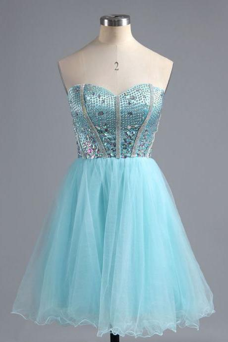 Sexy Sweetheart Satin Homecoming Dress, Princess Light Blue Mini Homecoming Dress, Sparkling Crystal Tulle Homecoming Dress with Pleats, #02016385