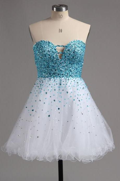 Princess Sweetheart White Homecoming Dress, Sparkling Blue Beaded Mini Homecoming Dress, Sweet A-line Tulle Homecoming Dress, #02016389