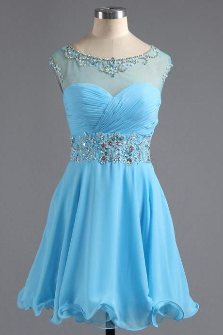 Illusion Blue Cap Sleeves Homecoming Dress, Princess Chiffon Homecoming Dress with Key Hole Back, A-line Homecoming Dress with Beaded Belt, #02016425