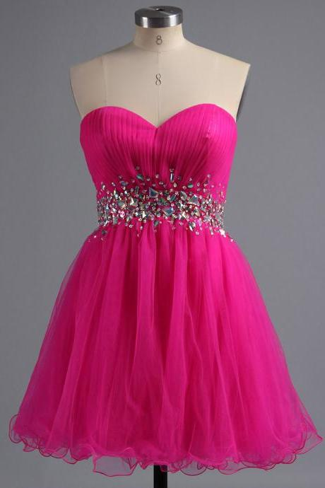 Princess Begonia Sweetheart Homecoming Dress, Cute Mini Tulle Homecoming Dress with Crystal Belt, A-line Homecoming Dress with Pleats, #02041945