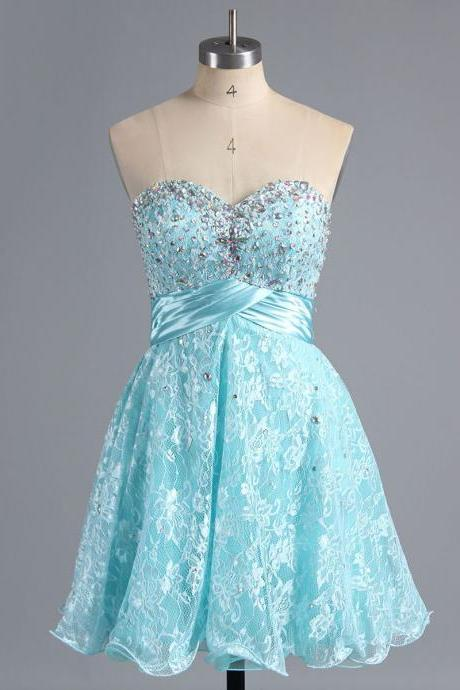 Sweet Ice Blue Lace Homecoming Dress, Exquisite Sweetheart Short Homecoming Dress, Princess Empire Homecoming Dress with Crystal and Beads, #02042339