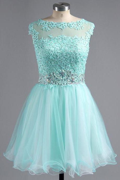 Aqua Illusion Neck Tulle Homecoming Dresses with See-through Back, Short Homecoming Dress with Beaded Belt, Lace applique Homecoming Dress, #02042343