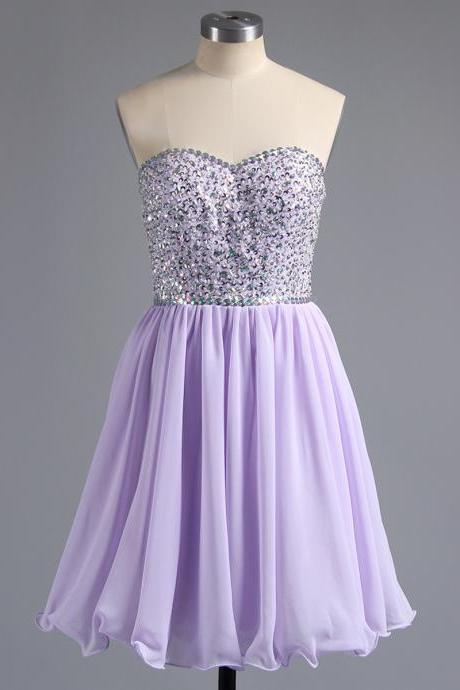 A-line Sweetheart Homecoming Dresses, Light Purple Homecoming Dresses, Glittering Beaded Chiffon Homecoming Dresses with Lace-up Back, #02042389
